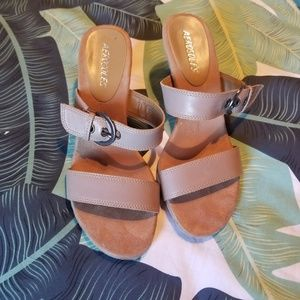 Aerosols tan leather strappy heels size 6